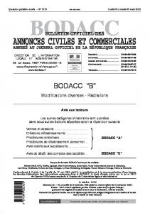 BODACC BULLETIN OFFICIEL DES ANNEXÉ AU JOURNAL OFFICIEL DE LA RÉPUBLIQUE FRANÇAISE BODACC C. Modifications diverses - Radiations