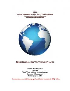 James G. McGann, Ph.D. Direttore Think Tanks and Civil Societies Program University of Pennsylvania Philadelphia, PA USA