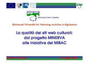 Ministerial NEtwoRk for Valorising Activities in digitisation. La qualità dei siti web culturali: dal progetto MINERVA alle iniziative del MiBAC